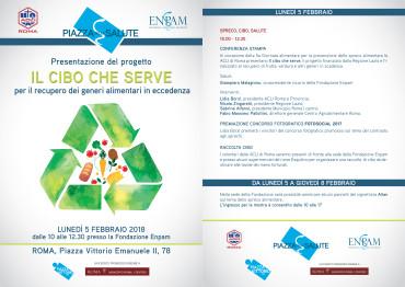 """V Giornata nazionale di prevenzione allo spreco alimentare: presentazione progetto """"IL CIBO CHE SERVE"""""""